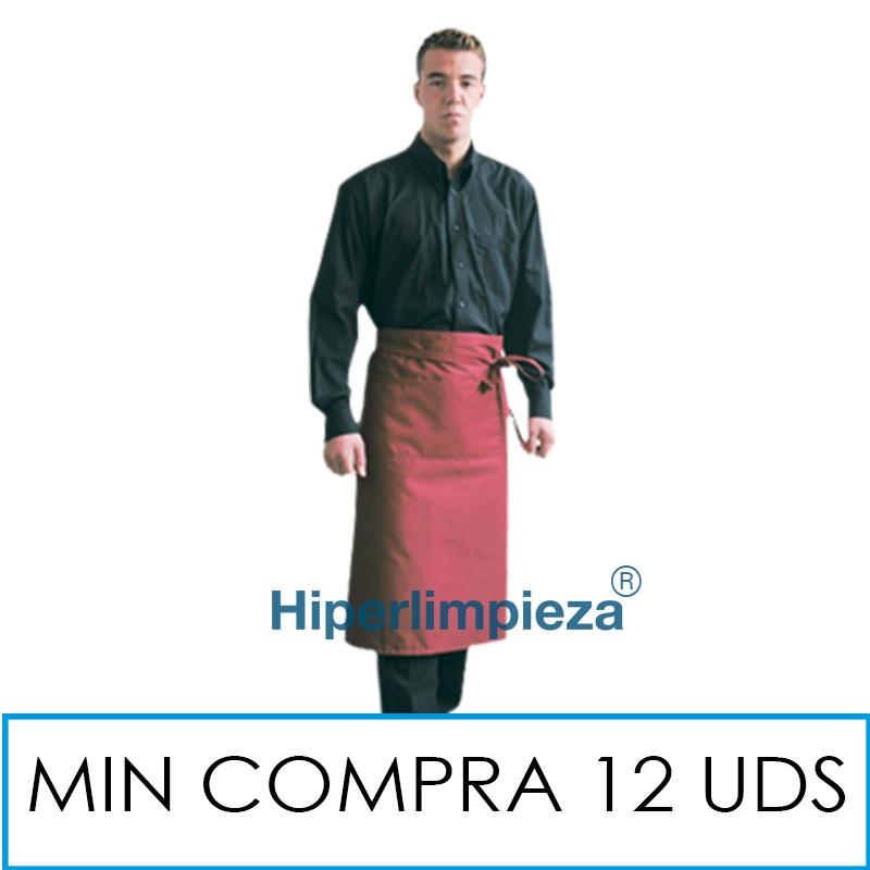 0368f08572ba Delantal hosteleria sin peto largo burdeos